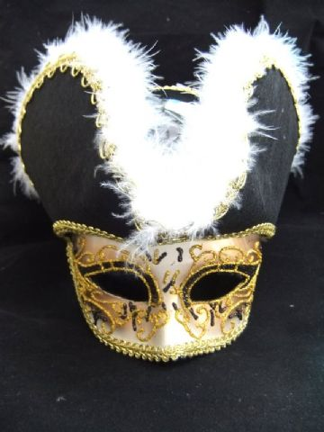 Venetian style mask with hat (headband or ribbons)